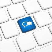 Sosyal iş kavramı balon simgesi mavi düğme veya klavyedeki bir tuşa — Stok fotoğraf