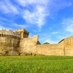 Populonia medieval village landmark, city walls and tower. Tuscany, Italy. — Stock Photo