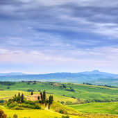 Tuscany, farmland and cypress trees, green fields. San Quirico Orcia, Italy. — Stock Photo