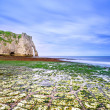 Etretat Aval cliff landmark and its beach in low tide. Normandy, — Foto de Stock