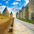 Carcassonne Cite, medieval fortified city on sunset. Unesco site, France - Stock Photo