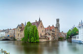 Bruges or Brugge, Rozenhoedkaai water canal view. Long exposure. Belgium. — Stock Photo