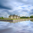 Chateau de Chambord, Unesco medieval french castle and reflection. Loire, France — Stock Photo #26610341