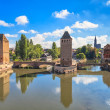 Strasbourg, medieval bridge Ponts Couverts and Cathedral. Alsace, France. — Stock Photo