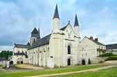 Fontevraud Abbey, west facade church. Religious building. Loire Valley. France. — Stock Photo