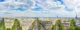Paris, panoramic aerial view of Champs Elysees and other building landmarks — Stock Photo