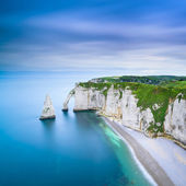 Etretat Aval cliff and rocks landmark and ocean . Normandy, France. — Stock Photo