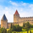 Carcassonne Cite, medieval fortified city on sunset. Unesco site — Stock Photo