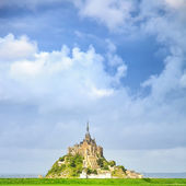 Mont Saint Michel monastery landmark and green field. Normandy, France — Stock Photo