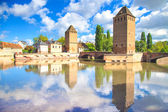 Strasbourg, tower of medieval bridge Ponts Couverts. Alsace, France. — Stock Photo