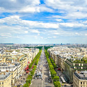 Paris, panoramic aerial view of Champs Elysees. France — Stock Photo