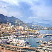 Monaco Montecarlo principality aerial harbor view. Azure coast. France — Stock Photo
