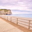 Etretat Aval cliff landmark, balcony and beach. Normandy, France — Stock fotografie