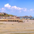 Low tide Cancale village and fishing port. Brittany, France. — Stock Photo #28242253