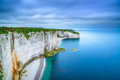 Etretat, rock cliff and beach. Aerial view. Normandy, France — Stock Photo