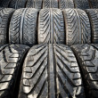Used old car tires detail pattern, background or texture — Stock Photo