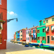 Venice landmark, Burano island canal, colorful houses and boats, Italy — Stock Photo #28822049