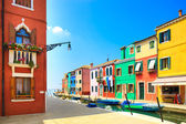 Venice landmark, Burano island canal, colorful houses and boats, Italy — Stock Photo