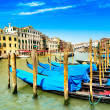 Venice grand canal, gondolas or gondole and Rialto bridge. Italy — Stock Photo