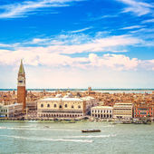 Venice aerial view, Piazza San Marco with Campanile and Doge Palace. Italy — Stock Photo