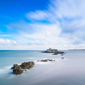 Saint Malo Fort National and rocks, high tide. Brittany, France. — Stock Photo