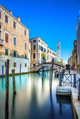 Venice San Giorgio dei Greci water canal and church campanile. Italy — Stock Photo