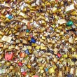 Stock Photo: Paris, texture or background of love padlocks on Pont des Arts bridge, France.