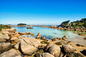 Ploumanach, rocas y bahía de playa en la mañana, bretaña, francia. — Foto de Stock
