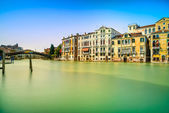Venice cityscape, water grand canal, accademia bridge and traditional buildings. Italy. — Stock Photo