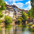 Stock Photo: Strasbourg, water canal in Petite France area, Unesco site. Alsace.