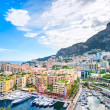 Monaco Montecarlo principality aerial view cityscape. Azure coast. France — Stock Photo