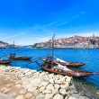 Oporto or Porto skyline, Douro river and boats. Portugal, Europe. — Stock Photo