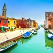 Venice landmark, Burano island canal, colorful houses, church and boats, Italy — Stock Photo