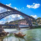 Oporto or Porto skyline, Douro river, boats and iron bridge. Portugal, Europe. — Stock Photo