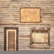 Stock Photo: Western vintage wooden facade background. Door, window and blank board