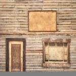Western vintage wooden facade background. Door, window and blank board — Stock Photo #32769221