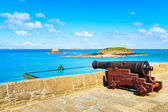 Old cannon along Saint Malo wall ramparts and fort. Brittany, F — Stock Photo