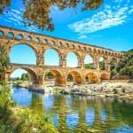 Roman aqueduct Pont du Gard, Unesco site.Languedoc, France. — Stock Photo #33247307