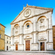 Pienza, Duomo Cathedral church facade in Tuscany, Italy — Stock Photo