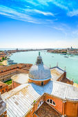 Venice, San Giorgio Church dome, Giudecca canal aerial view, Italy — Stock Photo