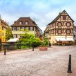 Colmar, Petit Venice, canal bridge and traditional half timbered — Stock Photo