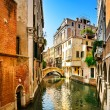 Stock Photo: Venice cityscape, buildings, water canal and bridge. Italy