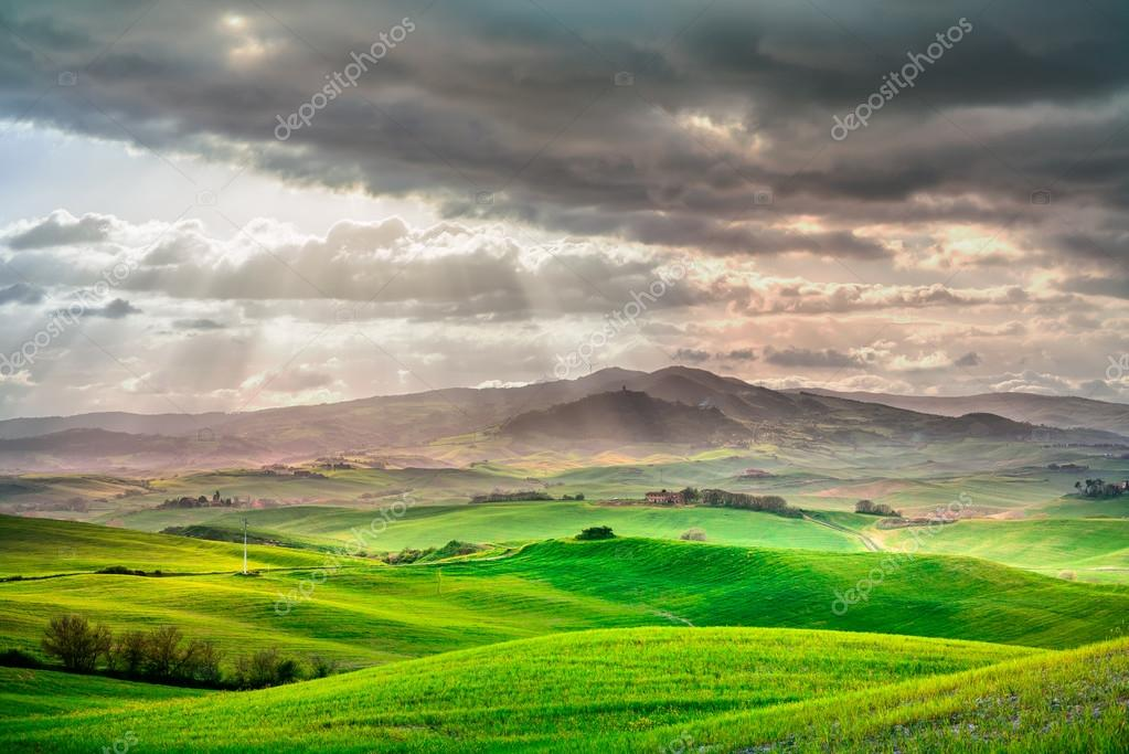 Фотообои Tuscany, rural sunset landscape. Countryside farm, white road and cypress trees.