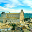 Orvieto medieval Duomo cathedral church and old village aerial view. Italy — Stock Photo