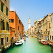 Venice panorama in San Giorgio dei Greci water canal and church campanile. Italy — Stock Photo