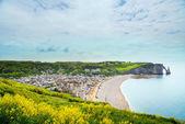 Etretat vesnice, pláž a aval útesu mezník v oceánu. Normandská — Stock fotografie