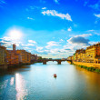 Santa Trinita Bridge on Arno river, sunset landscape. Florence, — Stock Photo