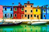 Venice landmark, Burano island canal, colorful houses and boats, — Stock Photo