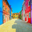 Venice landmark, Burano island street, colorful houses, Italy — Stock Photo #40555791