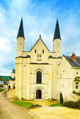 Fontevraud Abbey, west facade church. Religious building. Loire — Stock Photo
